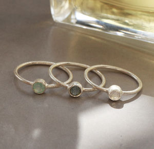 Gemstone And Textured Silver Ring - rings