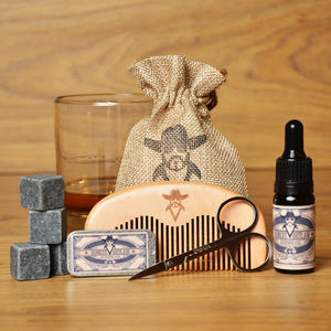 Beard Grooming Kit Bourbon Oak With Whiskey Stones - grooming gift sets