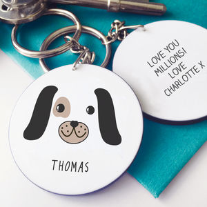 Personalised Cute Puppy Face Message Keyring - personalised