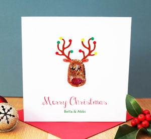 Personalised Reindeer Embroidered Christmas Card - cards & wrap