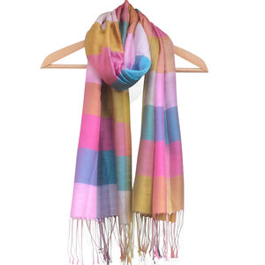 Silk Mix Block Scarf - pashminas & wraps