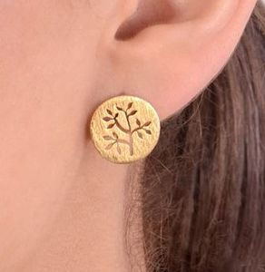 Gold Plated Stud Earrings With Cut Out Flower Motif - earrings