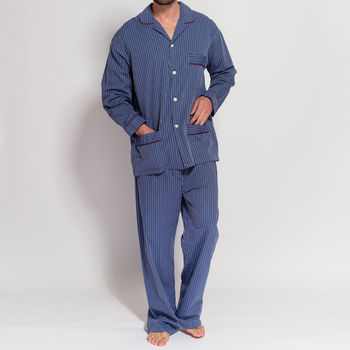 Men's Pyjamas Navy And Silver Stripes