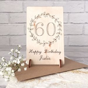 Personalised 60th Birthday Wooden Card - birthday cards