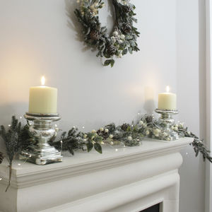 Snow Berry Fir And Pine Cone Christmas Garland - garlands & bunting