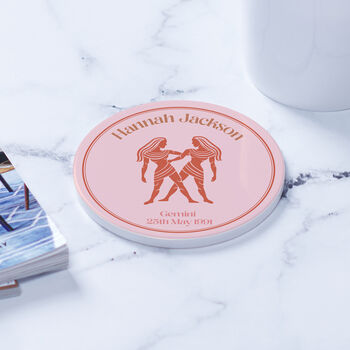 Personalised Star Sign Illustation Ceramic Coaster