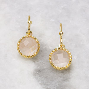 18ct Gold Vermeil Rose Quartz Drop Earrings - earrings