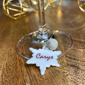 Personalised Christmas Snowflake And Bauble Glass Charm
