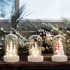 Set Of Three Light Up Glass Domes With Christmas Scenes - christmas home accessories