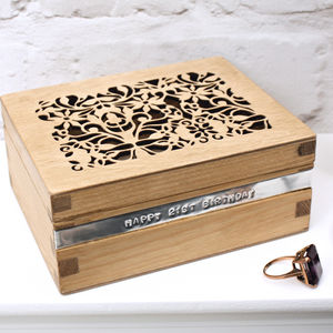 Personalised Wooden Filigree Trinket Box