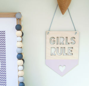 Girls/Boys Rule Wooden Nursery Hanging Flag/Pennant