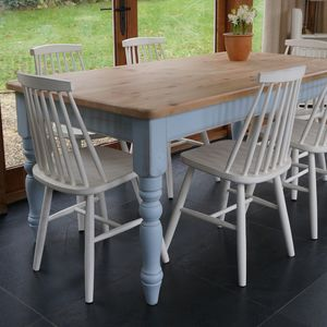 Farmhouse Table And 1960's Style Chairs Hand Painted - furniture