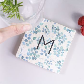 Personalised Initial Patterned Stone Coaster