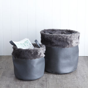 Grey Faux Leather And Fur Set Of Two Baskets