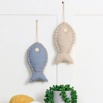 Set Of Two Assorted Nautical Fish Hanging Decorations