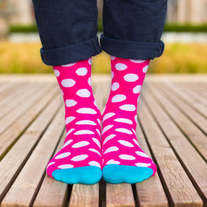 Colourful Pink, Blue And White Patterned Socks - men's fashion