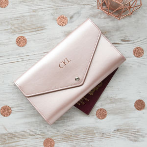 Metallic Leather Travel Wallet