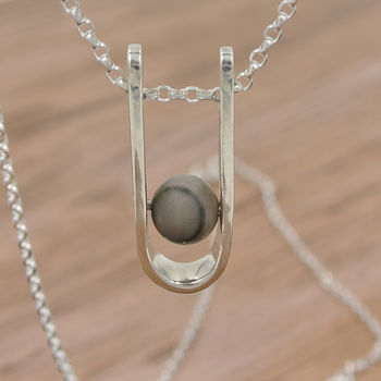 Modern Silver And Gemstone Pendant