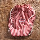Cream and Red Striped Swim bag