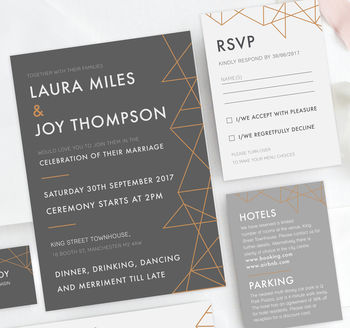 Grey Geometric Copper Foil Wedding Invites