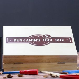 Personalised Children's Wooden Tool Storage Box