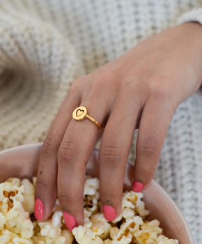 Personalised Circular Love Heart Spinning Ring