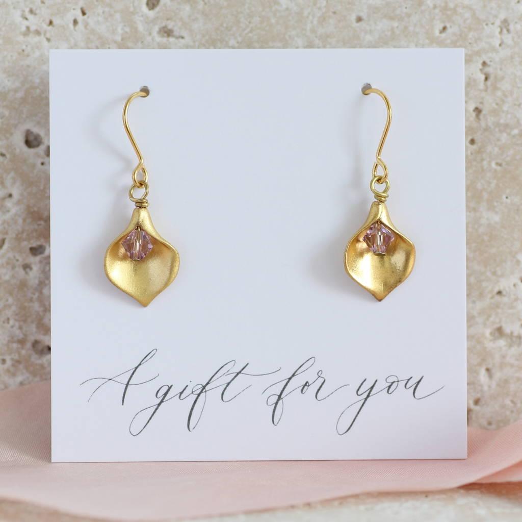 Calla Lily Birthstone Earrings