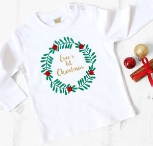 First Christmas Sparkly Wreath Long Sleeve Top - baby's first christmas
