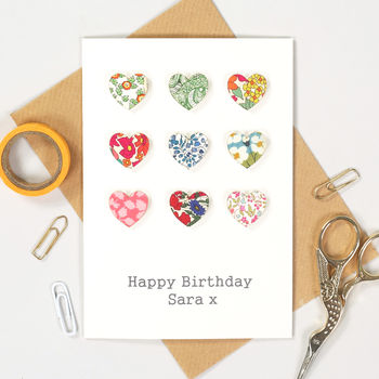 Liberty Print Handmade Fabric Hearts Card happy birthday