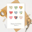 Liberty Print Handmade Fabric Valentines Hearts Card