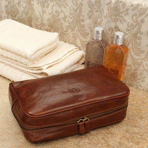Luxury Leather Toiletry Bag. 'The Raffaelle' - men's accessories