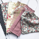 Pack Of Five Floral Face Masks With Draw String Bag