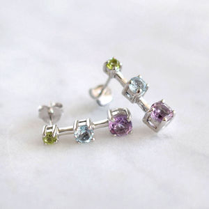 Sterling Silver Three Gemstone Earrings - earrings