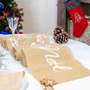 Joyeux Noel French Jute Christmas Table Runner