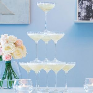 Ten Monogrammed L S A Champagne Coupe Stack Glasses - what's new