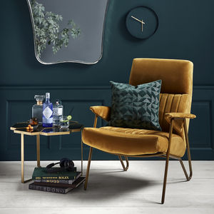 Velvet Mustard High Backed Chair - armchairs