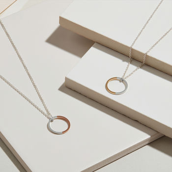 9ct Gold And Sterling Silver Two Tone Circle Necklace