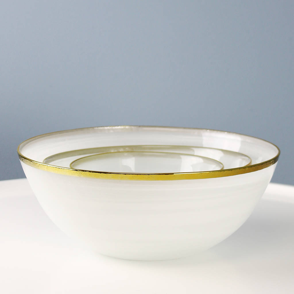 Round Glass Gold Rim Bowls