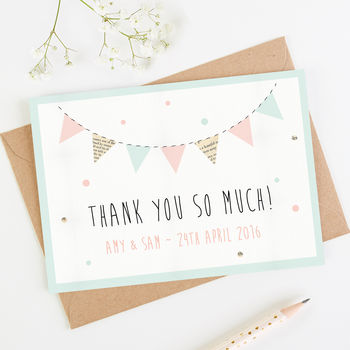 Bunting And Spots Thank You Card