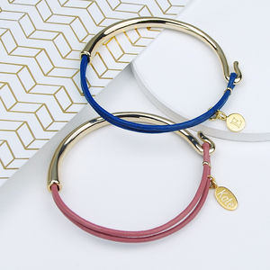 Stella Barely Gold And Leather Bangle - valentine's gifts for her