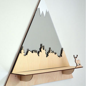 Stag Mountain Peak Decorative Mirror And Shelf