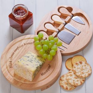 Personalised Cheese Board And Cheese Knives - kitchen