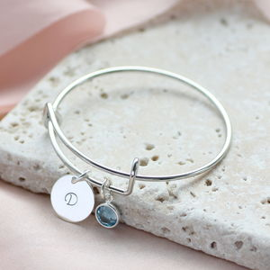 Personalised Birthstone Christening Bangle