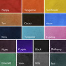 Colour options for the suede lining wedding book by johny todd