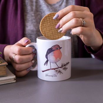 Personalised Christmas Robin Mug