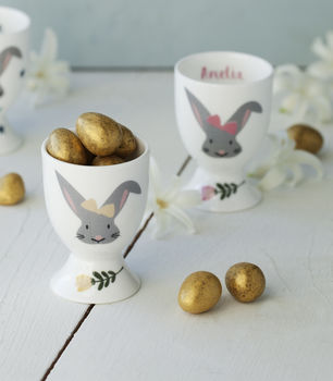 Personalised Easter Bunny Egg Cup With Golden Eggs