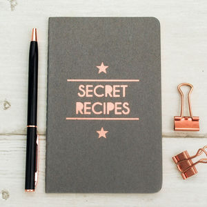 Luxury Hand Printed Recipe Copper Moleskine Notebook - mother's day gifts