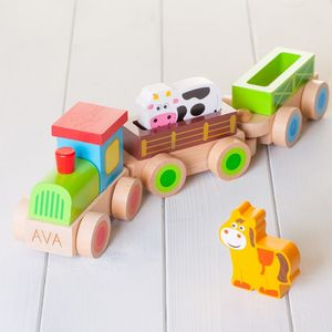 Childrens Personalised Wooden Farm Train - wooden toys