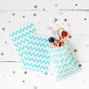 Blue Chevron Print Party Treat Bags - weddings sale