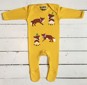 Handprinted Fox Babygrow